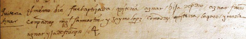 Bautismo de Quiteria - Siglo XVI