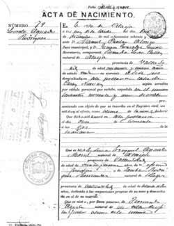 certificado literal de nacimiento del Registro civil en España