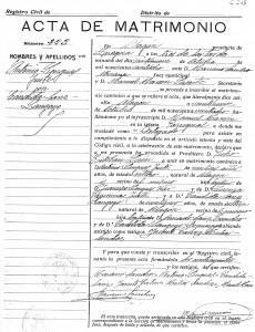 Acta de Matrimonio del registro civil