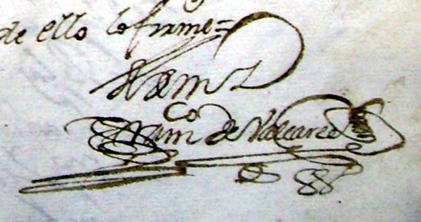 Firma del escribano en un documento antiguo