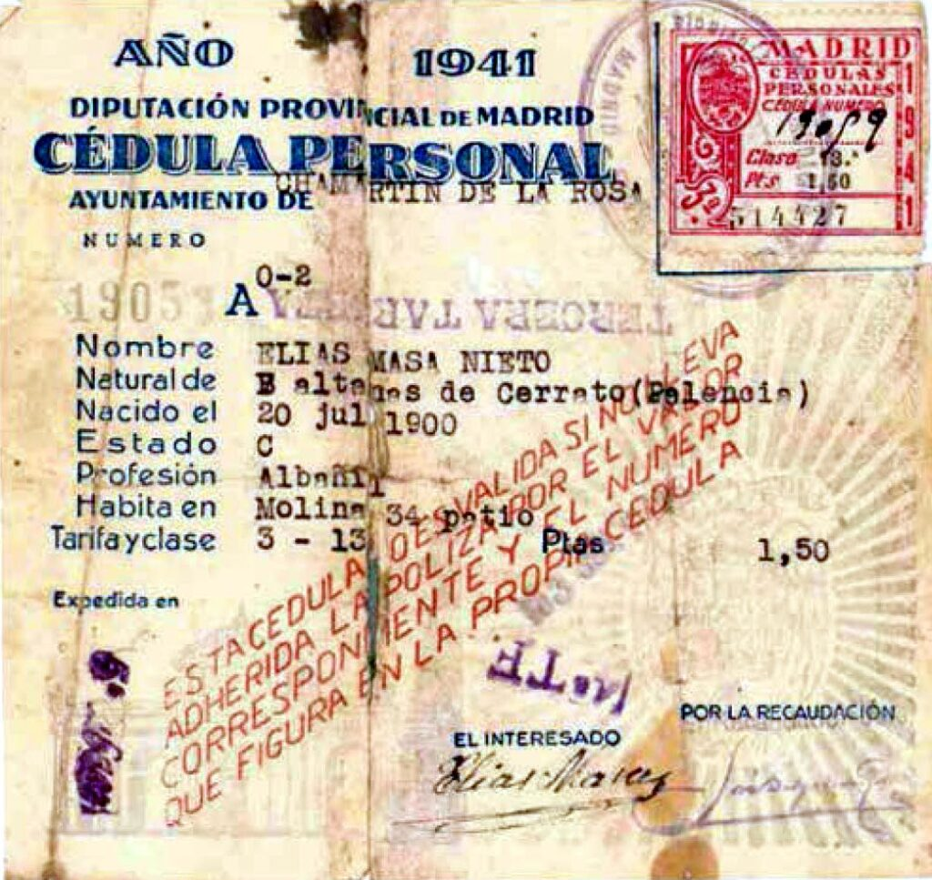 Cédula personal de Chamartín de la Rosa