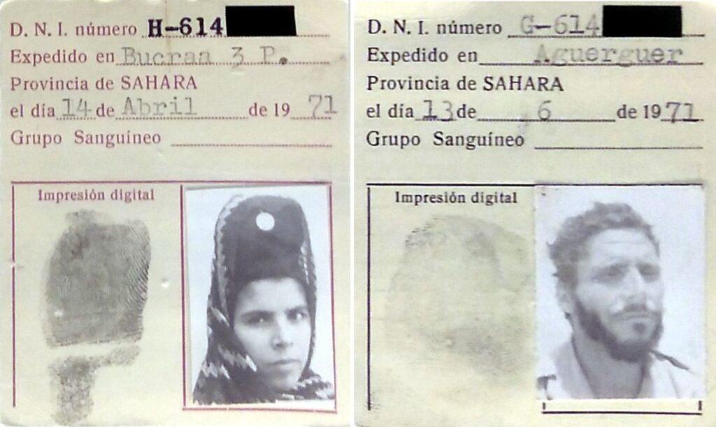 Fichas auxiliares para la toma de datos en la tramitación del carnet de identidad en el Sáhara