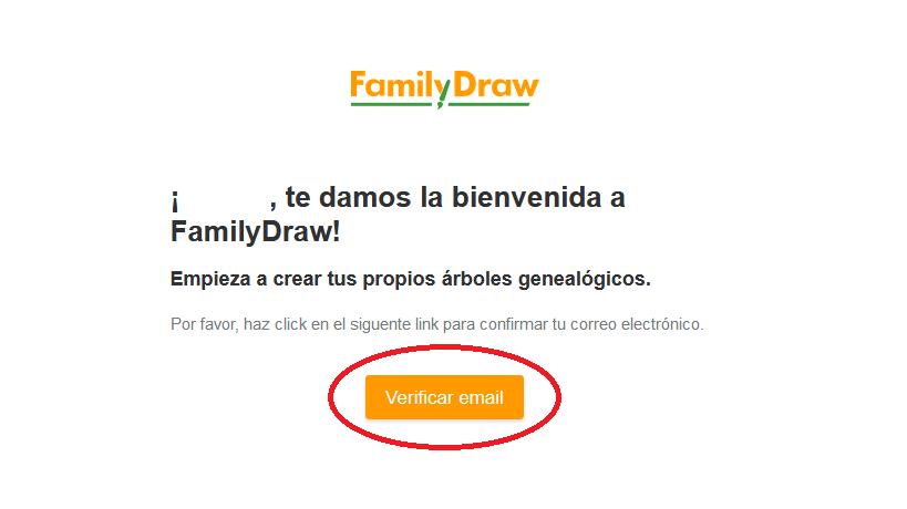 Mensaje de bienvenida de FamilyDraw