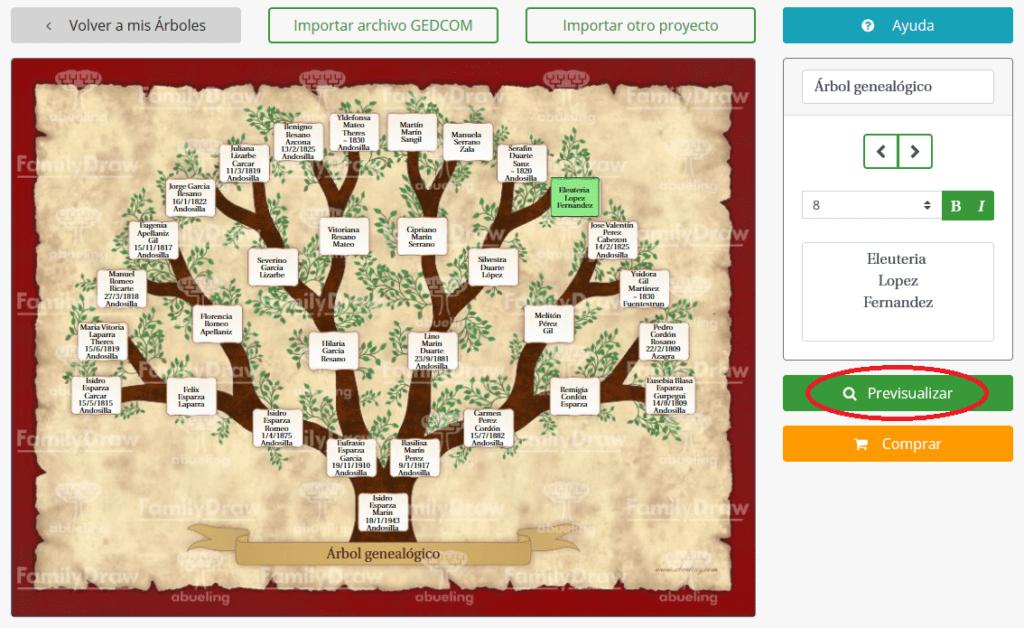 Previsualizar el árbol genealógico en FamilyDraw